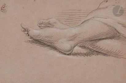 Joseph-François PARROCEL (1704-1781) étude de Mains et de pieds Pierre noire et...