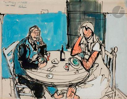 Jean HÉLION (1904-1987) à table, 1944 Encre...