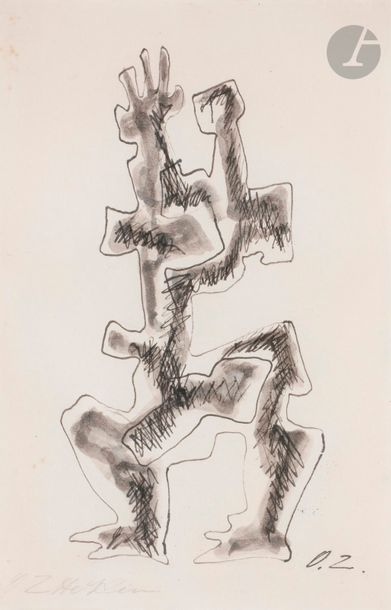 Ossip ZADKINE (1890-1967) Personnage Encre...
