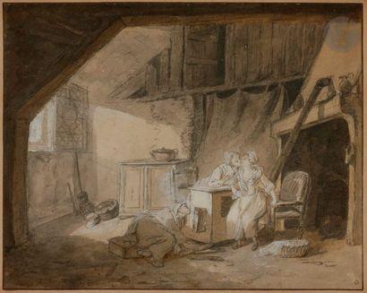 Philibert-Louis DEBUCOURT (1755-1832) Le Baiser furtif Crayon noir, plume, encre...