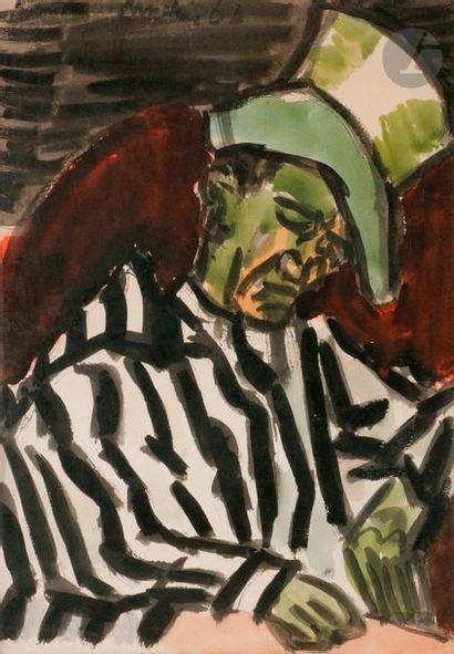 Henri LANDIER (né en 1935) Clown, 1960 Aquarelle....