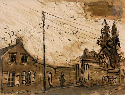 Henri LANDIER (né en 1935) Rue animée, 1963...
