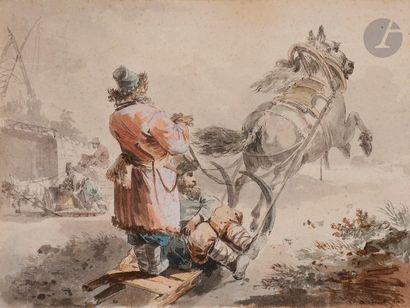 Atelier de Jean Baptiste LE PRINCE (1734-1781) Le Traineau russe Aquarelle gouachée,...