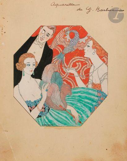 Georges BARBIER (1882-1932) En soirée Encre...
