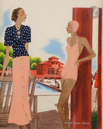 Léon BENIGNI (1892-1948) Monte-Carlo Beach...