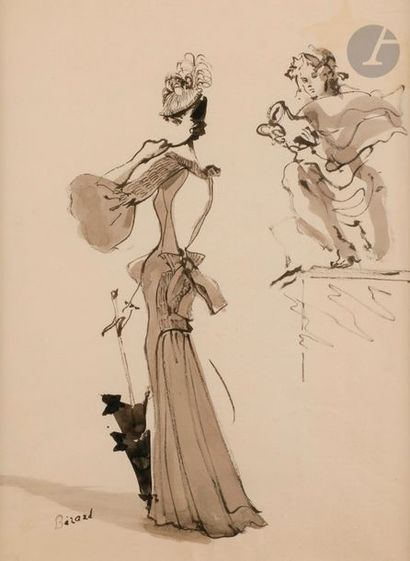Christian BÉRARD (1902-1949) Projet de robe...