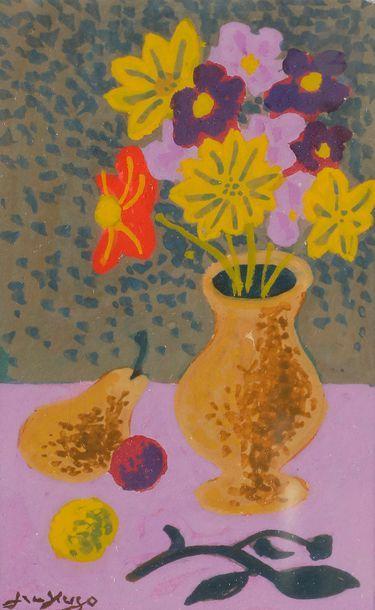 Jean HUGO (1894-1984) Dahlias, poire et prune,...