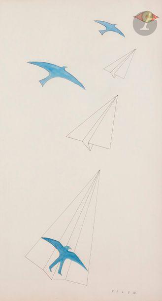 Jean-Michel FOLON (1934-2005) L'Envol Encre...