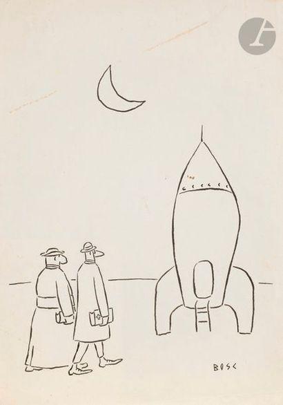 Jean BOSC (1924-1973) Navette spatiale Encre....