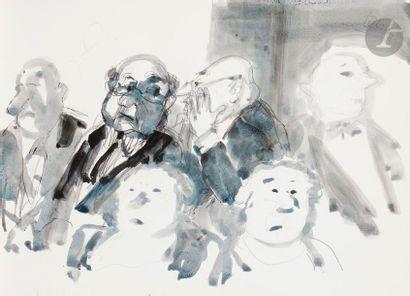 TETSU (1913-2008) Au théâtre, vers 1997-1999 4 encres, lavis d'encre et aquarelles...