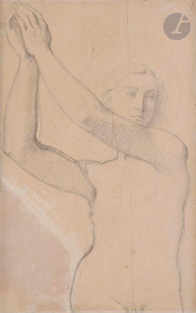 Jean-Auguste-Dominique INGRES (1780-1867) Étude pour l'archange Raphaël de la chapelle...
