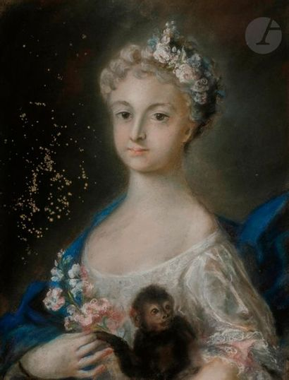 École FRANÇAISE du XVIIIe siècle, suiveur de Rosalba CARRIERA Jeune fille au bouquet...