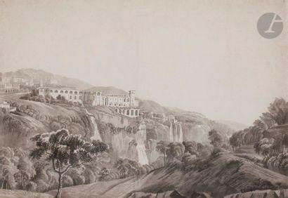 Fleury éPINAT (1764-1830) Vue animée de Tivoli avec le palais de Mécène Lavis gris...