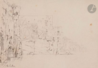 Achille-Etna MICHALLON (1796-1822) Vue d'Italie, région napolitaine Mine de plomb....