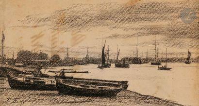 François BONVIN (1817-1887) Marine, 1871 Pierre noire sur papier beige. Monogrammée...