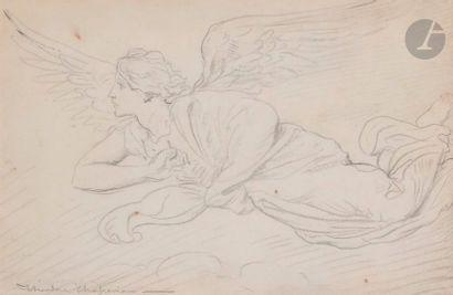 Théodore CHASSERIAU (1819-1856) Étude d'ange volant Crayon noir. Signé en bas à...