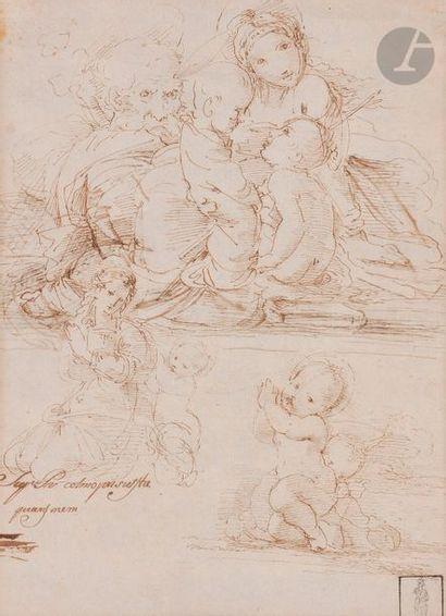 École ITALIENNE du XIXe siècle Feuille d'étude avec la Saint Famille, Vierge à l'Enfant...