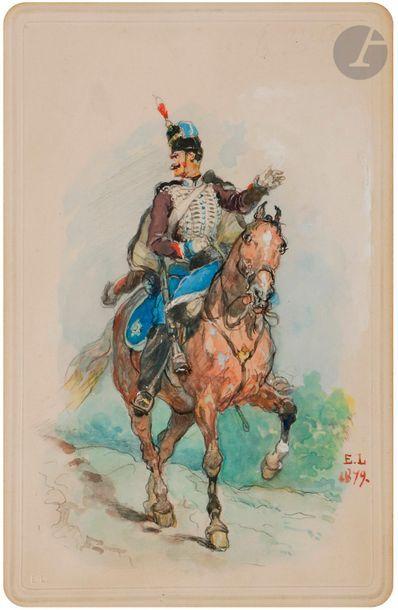 Eugène LAMI (1855-1919) Cuirassier à cheval...