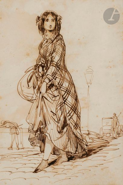 Paul GAVARNI (1804-1866) Jeune femme sur...