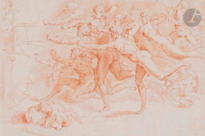 École ITALIENNE du XVIIe siècle Les Archers, d'après Michel-Ange Sanguine et estompe....