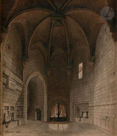 Hector LEROUX (1829-1900) Intérieur d'église...