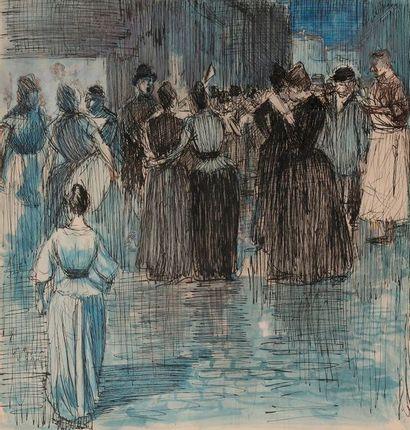 ECOLE FRANCAISE vers 1900 Vendeur de journaux...