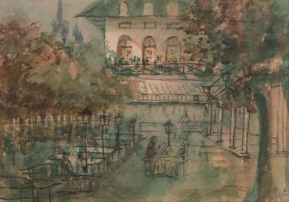 Attribué à Constantin GUYS (1802-1892) Guinguette...