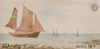 Henri Joseph HARPIGNIES (1819-1916) Bateaux...