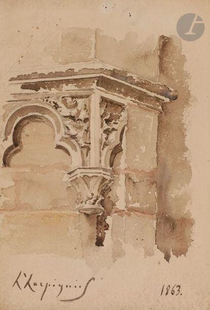 Henri Joseph HARPIGNIES (1819-1916) église...