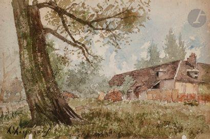 Henri Joseph HARPIGNIES (1819-1916) Ferme,...