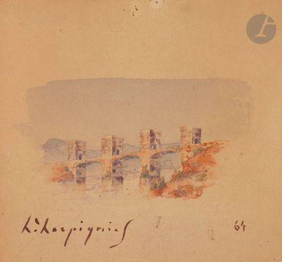 Henri Joseph HARPIGNIES (1819-1916) Pont...