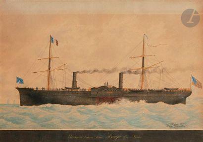 Eugène GRANDIN (1833-1919) Steamer Arago,...
