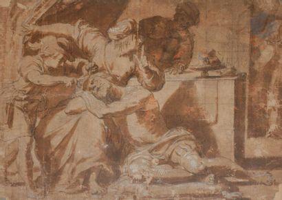 Attribué à Gerrit van HONTHORST (1590-1656) Samson et Dalila Plume et encre noire...