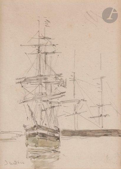 Eugène BOUDIN (1824-1898) Voilier au port...