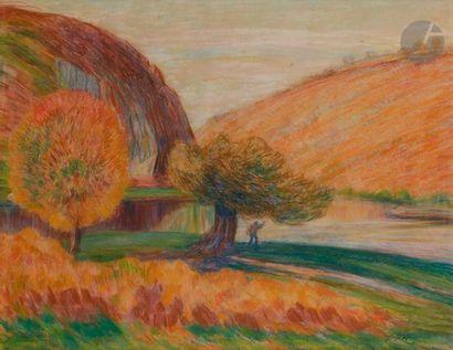 Léon DETROY (1859-1955) Paysage fauve Pastel....