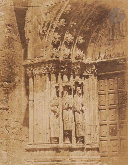 Émile Pécarrère (1816-1904) Collégiale Notre-Dame-du-Fort d'Étampes, c.1852. Statues-colonnes...