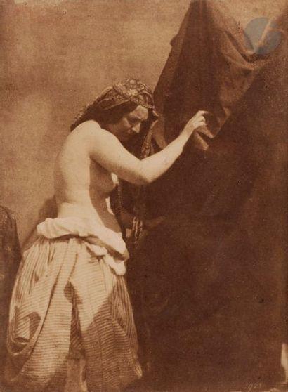 Julien Vallou de Villeneuve (1795-1866). Étude de lumière (nu féminin au drapé),...