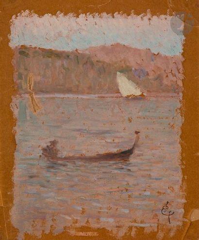 Ernest LAURENT (1859 - 1929)  Paysage  Huile sur calque  26 x 21cm  Cachet en...