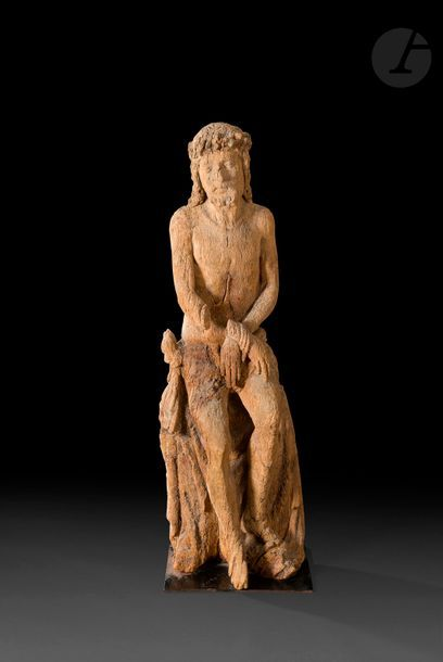 Grand Christ aux liens en chêne sculpté avec...