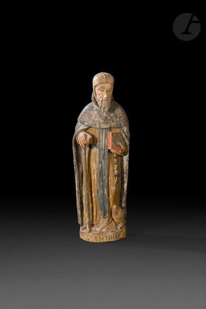 Saint Antoine en bois sculpté et polychromé,...