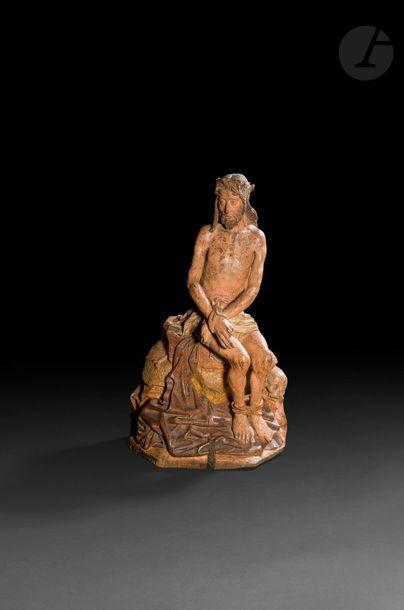 Christ aux liens en chêne sculpté en ronde-bosse,...