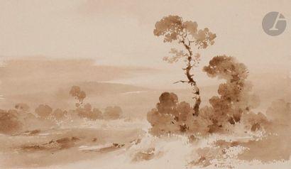 Pierre LETUAIRE (1798 - 1884) Personnages ; paysages Ensemble de 12 dessins en...