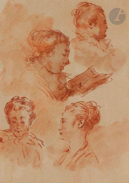 école française du XIXe siècle études de femmes jouant d'un instrument de musique...