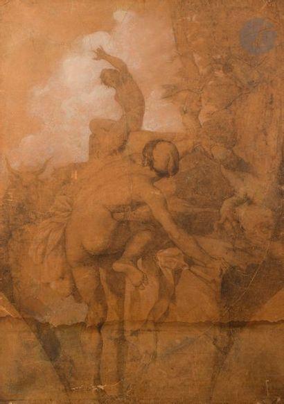 École Française du XIXe siècle Deux hommes fuyant un troupeau de taureaux Fusain...