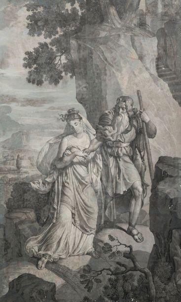 Papier peint du XIXe siècle Scène historique 160...