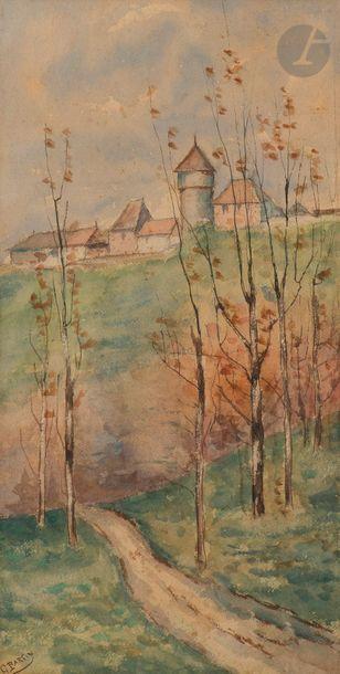 BARTIN (XXe siècle) Chemin arboré Aquarelle. Signée en bas à gauche. 41,5 x...