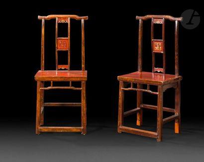 CHINE - Début XXe siècle Deux chaises le...