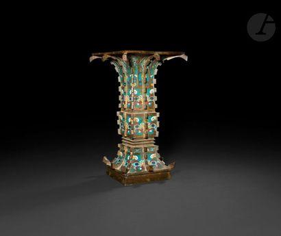 JAPON - Vers 1900 Vase gu en bronze et émaux...