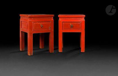 CHINE - XXe siècle Deux tables de chevet...