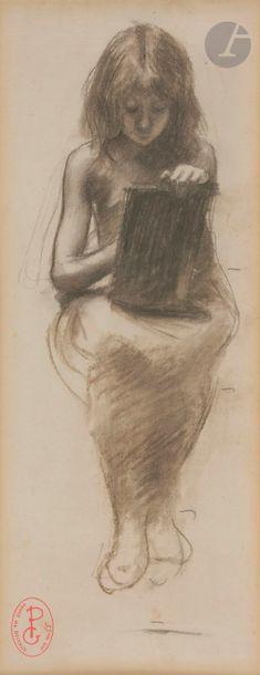 Georges PICARD (1857 - 1946)  Deux études de jeunes filles écrivant  Fusain estompé...